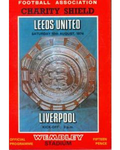 1974 Charity Shield Official Programme Leeds V Liverpool