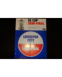 1974 FA Cup Semi-Final Programme Leicester City v Liverpool official programme 30/03/1974