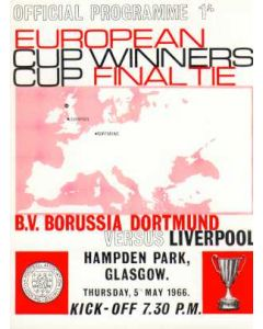 1966 Cup Winners Cup Final Official Programme Liverpool v Borussia Dortmund 05/05/1966