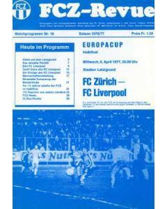 1977 FC Zurich V Liverpool Programme 06/04/1977