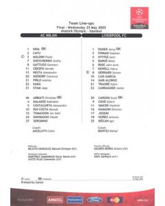 2005 Champions League Final Team Line-Ups Milan v Liverpool 25/05/2005 in Istanbul