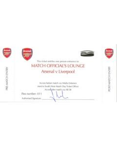 Arsenal v Liverpool Match Official's Lounge unused ticket Season 2007-2008