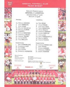 Arsenal v Liverpool official colour teamsheet 05/04/2008 Premier League