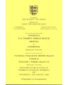 1989 Charity Shield Arsenal v Liverpool Programme of Arrangements for the Royal Box