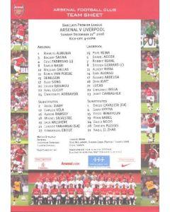 Arsenal v Liverpool official colour printed teamsheet 21/12/2008