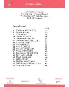 Arsenal v Liverpool press information 28/10/2009 Carling Cup