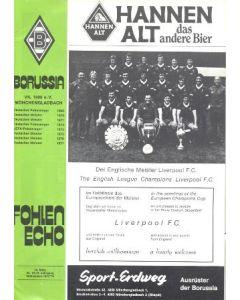 1978 European Cup Semi-Final Borussia Monchengladbach, Germany v Liverpool official programme 29/03/1978