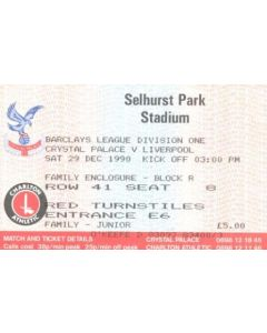 Crystal Palace v Liverpool ticket 29/12/1990