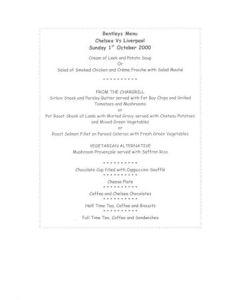 Chelsea v Liverpool Bentley's menu 01/10/2000