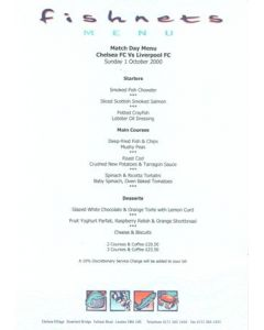 Chelsea v Liverpool Fishnets menu 01/10/2000