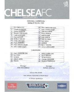 Chelsea v Liverpool official teamsheet 03/10/2004