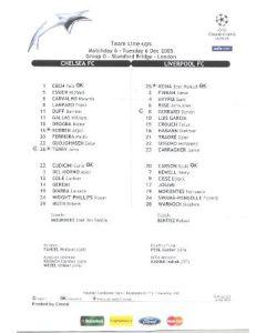 Chelsea v Liverpool Team Line-ups 06/12/2005 Champions League