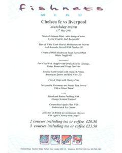 Chelsea v Liverpool Fishnets menu 11/05/2003
