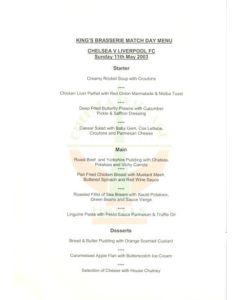 Chelsea v Liverpool Fishnets King's Brasserie menu 11/05/2003