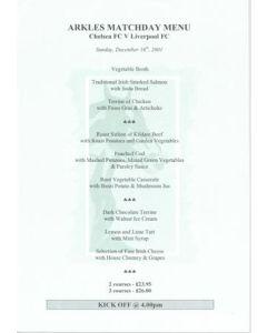 Chelsea v Liverpool Arkles menu 16/12/2001