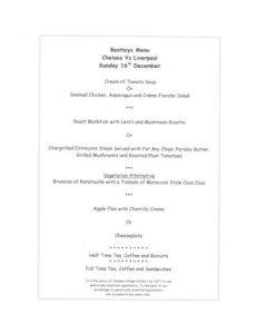 Chelsea v Liverpool Bentley's menu 16/12/2001