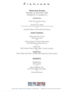 Chelsea v Liverpool Fishnets menu 16/12/2001