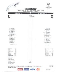 Chelsea v Liverpool half time report 27/04/2005