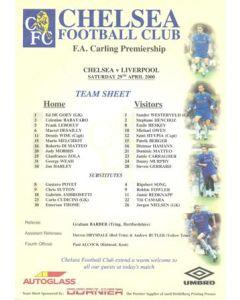 Liverpool v Chelsea official colour teamsheet 29/04/2000 Premier League