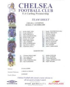 Chelsea v Liverpool official colour teamsheet 01/10/2000 Carling Premiership
