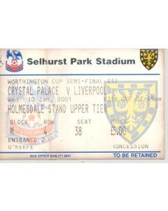 Crystal Palace v Liverpool ticket 10/01/2001