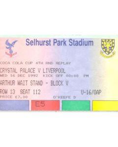 Crystal Palace v Liverpool ticket 16/12/1992