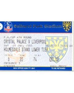 Crystal Palace v Liverpool ticket 26/01/2003