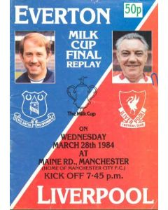 1984 Milk Cup Final Replay Everton v Liverpool official programme 28/03/1984