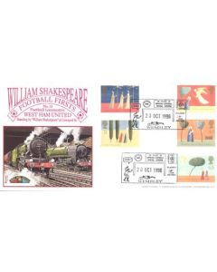 Football Locomotive West Ham United standing by William Shakespeare at Liverpool Street First Day Cover of 28/10/1996