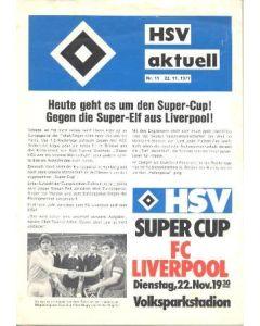 1977 Hamburg v Liverpool official programme 22/11/1977 Super Cup