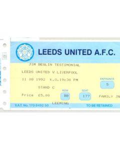 Leeds United v Liverpool ticket 11/08/1992