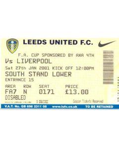 Leeds United v Liverpool ticket 27/01/2001