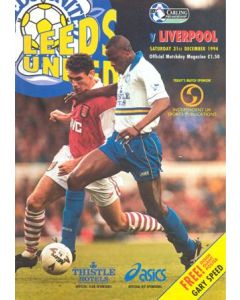 Leeds United v Liverpool official programme 31/12/1994 Premier League, with a giant Gary Speed poster and a teamsheet
