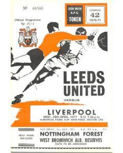 1971 Leeds v Liverpool European Fairs Cup Semi-Final official programme 28/04/1971