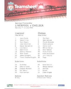 Liverpool v Chelsea official teamsheet 01/01/2005 Barclays Premiership match