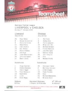 Liverpool v Chelsea official colour printed teamsheet 01/02/2009