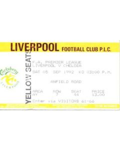 Liverpool v Chelsea ticket 05/09/1992