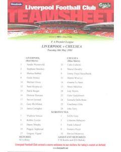Liverpool v Chelsea official colour teamsheet 08/05/2001 F.A. Premier League