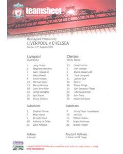 Liverpool v Chelsea official colour teamsheet 17/08/2003 Premier League
