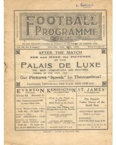 Liverpool v Chelsea official programme 27/09/1930 and Everton Res V Sheffield utd Res