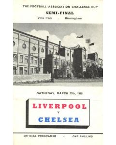 1965 FA Cup Semi-Final Programme Liverpool v Chelsea official programme 27/03/1965