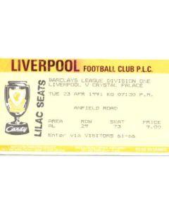 Liverpool v Crystal Palace ticket 23/04/1991