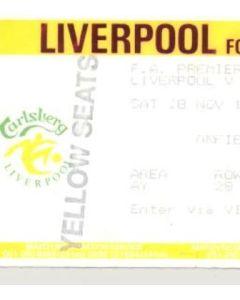 Liverpool v Crystal Palace ticket 28/11/1992
