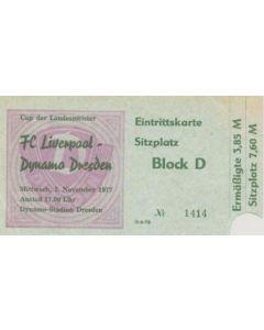 Dynamo Dresden, East Germany v Liverpool ticket 02/11/1977