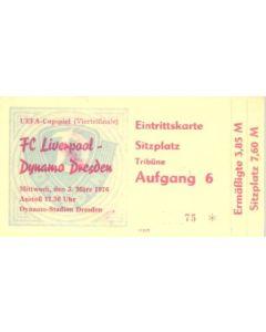Dynamo Dresden, East Germany v Liverpool ticket 03/03/1976 UEFA Cup