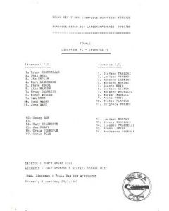 Liverpool v Juventus official teamsheet with an enclosed Communique 29/05/1985 European Cup Final