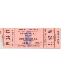 Liverpool v Meidericher, West Germany ticket stub, match played in the USA