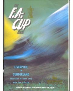 1992 FA Cup Final Programme Liverpool v Sunderland