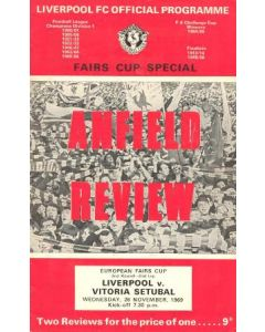1969 Liverpool v Vitoria Setubal European Fairs Cup Second Round Second Leg official programme 26/11/1969