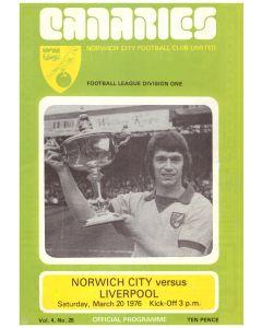 1976 Norwich v Liverpool football programme